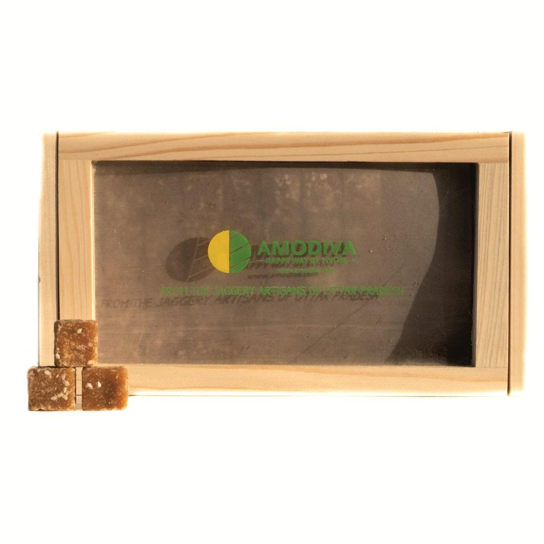 Amodiva Jaggery Cubes Wood Box (100 Cubes) - Gift Pack